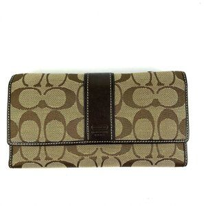 Coach Wallet Signature Brown Trifold Clutch Canvas
